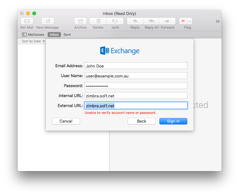 Set up your Zimbra account in Apple Mail