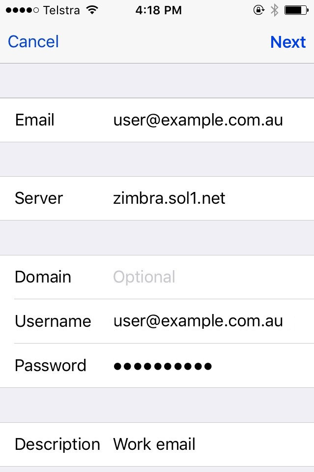 Set up your Zimbra account on your iPhone / iPad