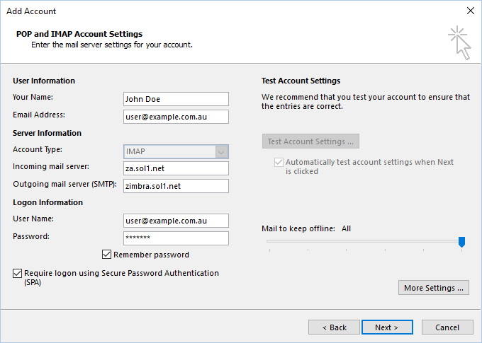 Set up your Sol1 email account in Outlook